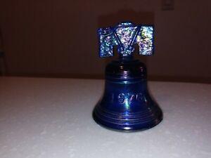 Joe St. Clair Carnival Glass Liberty Bell Cobalt Iridescent Blue Vintage Mint