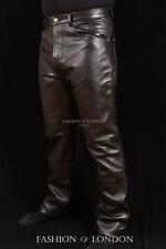 Men's Leather Trouser Pants '501 JEANS STYLE' Black Cowhide Classic Biker Pants