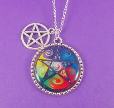 PENTAGRAM CHARM NECKLACE pentacle pagan wiccan mystical witch god star celtic