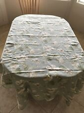 """100% cotton rectangular tablecloth, 61"""" x 100"""", with flowers, light sage color"""