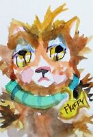 Aceo fluff kitty cat pet collectible miniature watercolor painting art Delilah