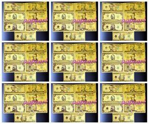 Lots 70 Pcs US $ 1 - 100 Dollar Crafts Banknotes Golden Plastic Foil Paper Money