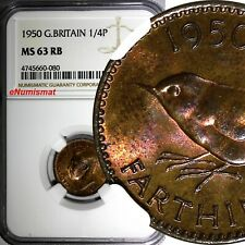 Great Britain George VI Bronze 1950 Farthing NGC MS63 RB KM# 867