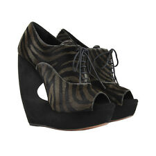 Alaia Luxurious Black Grey Pelt Sculptured Wedges Zebra Ankle Boots IT40 UK7