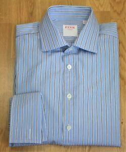 "Thomas Pink ~ 15.5"" ~  blue, black & white stripe cotton, classic fit shirt"