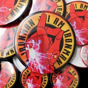 I Am Ironman - Avengers Inspired Pin Badge - 77mm/58mm/33mm - Iron Man Spiderman