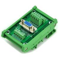 D-SUB DB15HD Female DIN Rail Mount Interface Module, Breakout Board.