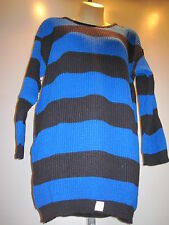 NOS RETRO 1980S SWEATER TUNiC TOP 2 TONE STRiPED BLACK & BLUE DiSCO PUNK SKA L