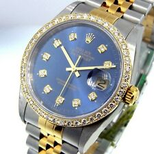 ROLEX DATEJUST STEEL GOLD TWO TONE JUBILEE BRACLET BLUE DIAMOND DIAL BEZEL