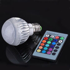 AC 85-265V E27 3W RGB LED Light Color Changing Lamp Bulbs+Remote Control