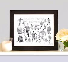 MANCHESTER UTD Legends Art Print Retro Gift Present For  Man Utd Supporter Fan