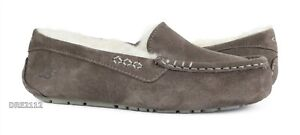 UGG Ansley Slate Suede Fur Slippers Womens Size 11 *NEW*