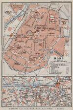 MONS antique town city plan & environs. St Ghislain. Belgium carte 1910 map