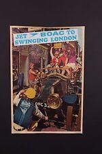 VTG ORIGINAL 1960's JET BOAC BRITISH AIRLINES TO SWINGING LONDON TRAVEL POSTER