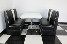 American Diner Furniture 50s Style Retro Booth Table & Black Nashville Booth Set