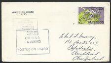 ANTIGUA 1975 P&O ship ORIANA cachet on cover - Barbados Stamp..............49729