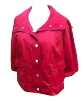 AK ANNE KLEIN Women's Pink Cotton Blend Cropped Summer Jacket.Size Large(Petite)
