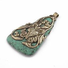 Repousse Turquoise Pendant Tibetan Nepalese Handmade Tibet Nepal UP1117