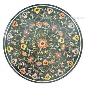 """36"""" Green Marble Center Table Top Pietra dura Inlay Handmade Home Decor"""