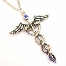 Blue Crystal Caduceus Snake Healing Amulet Pendant Necklace Egyptian Atum Ra JA0