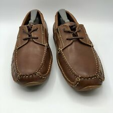 HS Trask Boat Shoes Mens Sz 9.5M Brown Leather Driving Loafers Slip On H3182 292