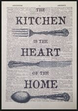 Kitchen Heart Of The Home Vintage Dictionary Page Wall Art Picture Cutlery Print