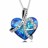 Women Blue Sapphire White Topaz Sterling Silver Pendant Chain Necklace 18""