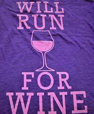 """""""Will Run for Wine"""" Wine Drinker's Fitness Tank Top Women M Purple"""