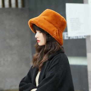New Women Winter Faux Fur Bucket Cap Bush Hat Elegant Wide Brim Fluffy Warm Hat