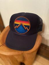 Aviator Nation Trucker Hat SnapBack Navy Mountain Patch Rainbow Stripe One Size