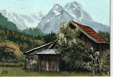 """aceo original acrylic painting """"Old Overgrown Shed""""  by J. Hutson"""