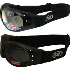 2 Motorcycle Riding Padded Goggles-Sun Glasses-SUPER DARK & CLEAR MIRROR Lens