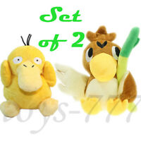 "2X Pokemon 7"" Farfetch'd And 5"" Psyduck Stuffed Animal Duck Scallion Plush Toys"