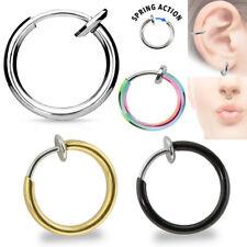 1-4Pc Gold Rainbow Black Steel Spring Action Clip Nose Hoop Fake Septum Earring