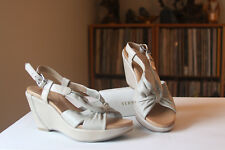 Naya Maher Beige Leather 3 Inch Wedge Heel Slingbacks Women's Size 5.5 Medium