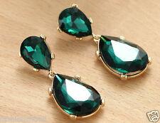 Long Ear Stud Hoop earrings 186 1 pair Handmade Woman's Grenn Crystal Rhinestone