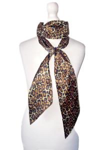 Leopard Animal Print Head Neck Thin Faux Silk Scarf - uk