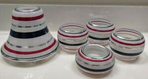 YANKEE CANDLE~5 pc Set~Red~Silver~White & Blue Swirl~Glass jar shade~RARE