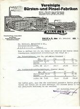 Litho Rechnung vereinigte Bürsten - & Pinsel Fabriken Halle a. d. Saale 1933 (D1