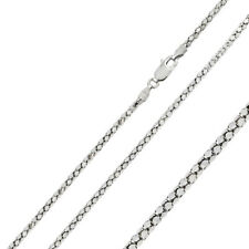 Men Women 2.7mm Silver Italian Necklace Rhodium Plated DC Flat Coreana Chain