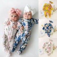 Newborn Infant Baby Girl Boy Footed Sleeper Romper Headband Clothes Outfits