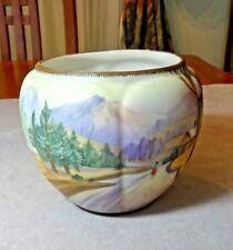 Morimura Bros Nippon Hand Painted w/Moriage Mt. Fuji Scene Vase Meiji 1911-1921