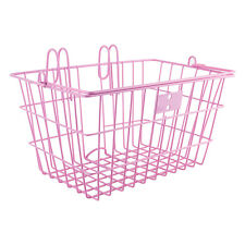 Sunlite Lift Off Bicycle Basket -14.5x8.5x7inches-quick mount hooks-Pink