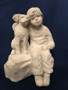 Vintage Austin Sculpture Boy and His Dog 1987 Bright Eyes Collection Dee Crowley