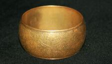 Antique Art Deco Engraved Floral Bangle Brass Bracelet
