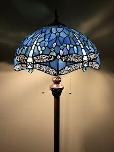 """Enjoy Tiffany Style Floor Lamp Crystal Blue Stained Glass Dragonfly Vintage 64""""H"""