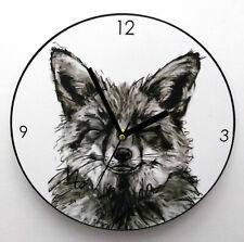 THE FOX CLOCK WOODEN ROUND CLOCK KITCHEN LOUNGE WALL CLOCK CHILDRENS BEDROOM