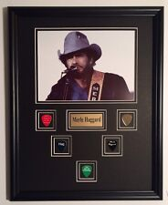 Merle Haggard framed photo with engraved guitar picks