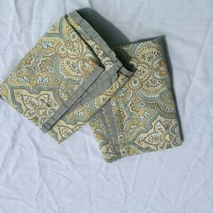 2 King Sized Pillow Shams Laura Ashley Sage Green Paisley 100% Cotton Brwon