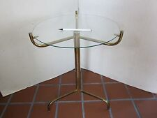 "MID CENTURY TABLE SPIDER LEGS METAL GLASS TOP GOLD TONE Stand Vintage 19.5"" T"